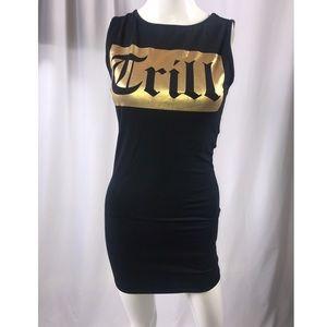 Trill black and gold mini dress